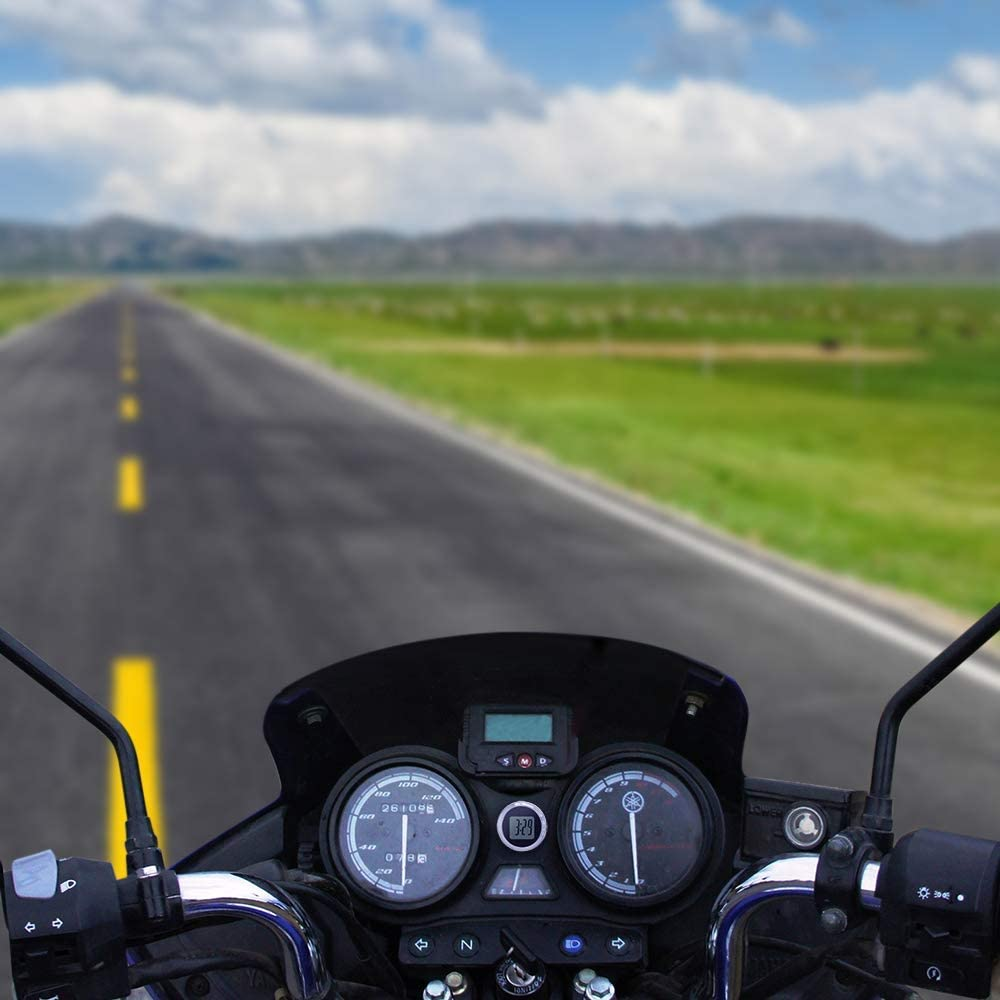 booplua Motorrad Motorrad Uhr Mini Wasserdichte Stick-On Motorrad Uhr Motorrad Auto Digitaluhr Bis mit 12h Format 27.5 * 10mm