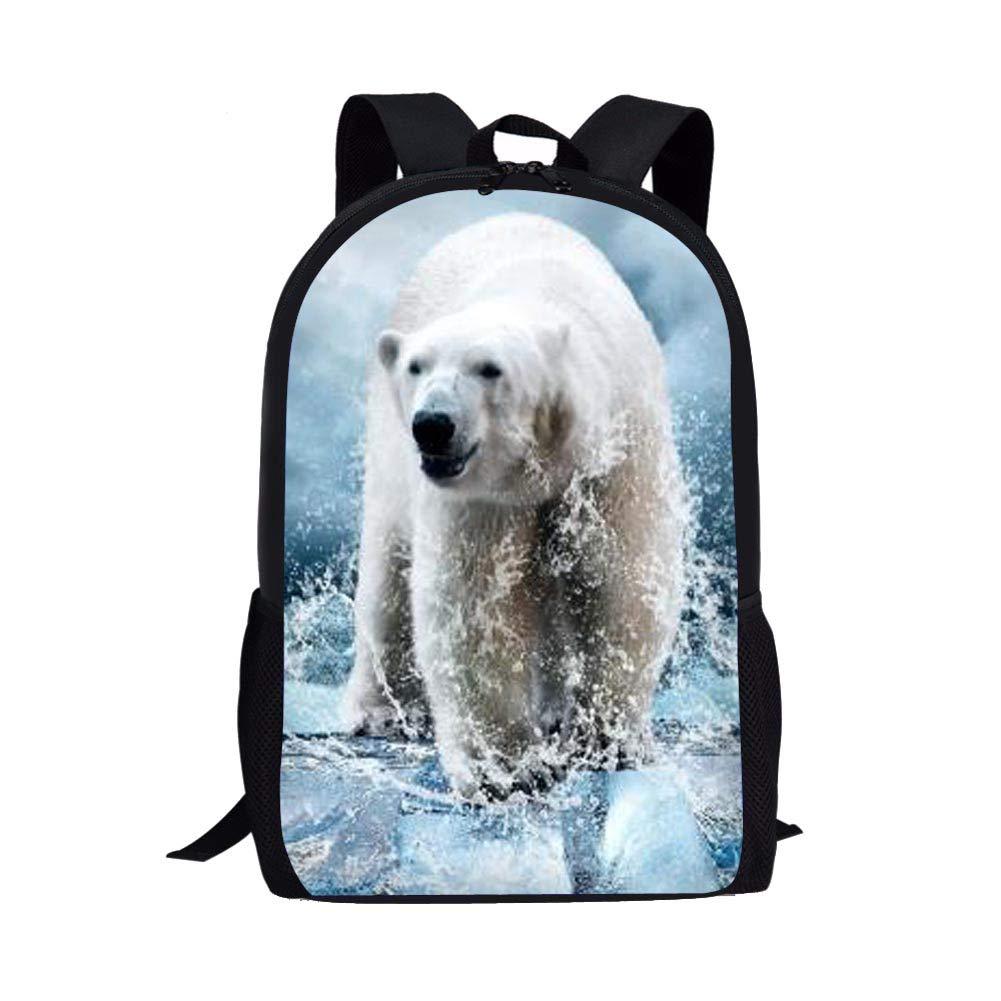 30fcd5deb089 Showudesigns Polar Bear KidsSchoolbag Backpack Teen Girls Boys School Bag  Children Travel Knapsack