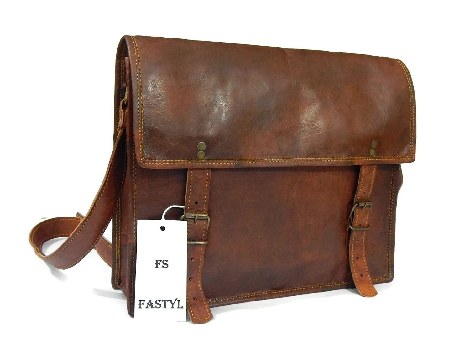 "Fastyl Handmade 13"" Tango Vintage Genuine Brown Men s Ladies Leather  Messenger Laptop Cross Body Bag f026dfcaac5a7"