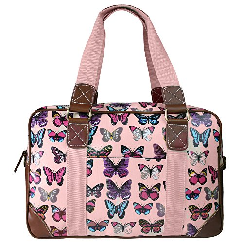 Miss Lulu Women's Oilcloth Travel Bag Butterfly Design (Light Pink L1106B LPK)