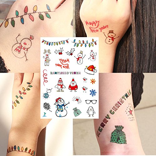 Last Second Halloween Costumes For Guys (Yeeech Christmas Designs Temporary Tattoos Sticker for Kids Adults Santa Claus Reindeer Jingling Bell Snowman Hat Glass Penguin Harajuku Pattern Body Art Decors Waterproof)