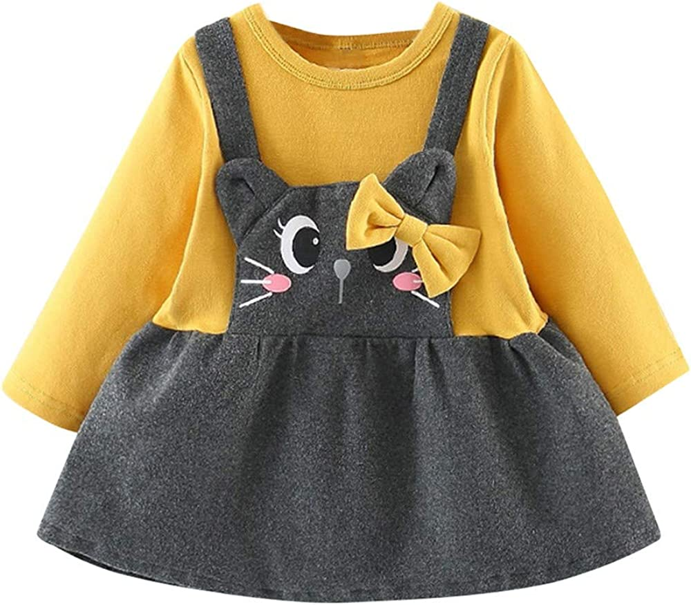 Vestido de niñas Vestido de Arco con Estampado de Gato de Dibujos Animados de Manga Larga para bebé niña Vestido de Princesa Fiesta niñas Recién Nacido