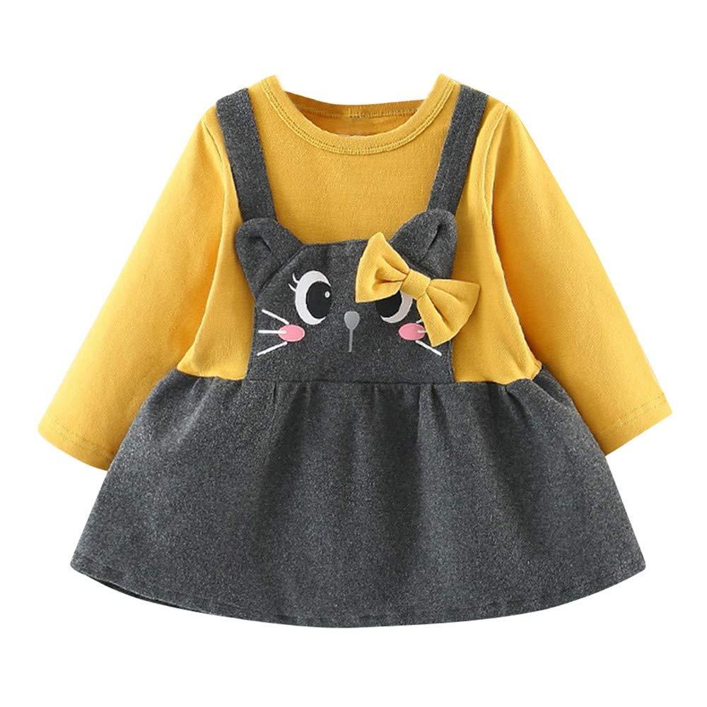 Jimmackey Neonata Bowknot Fumetto Gatto Stampa Vestito Manica Lunga Principessa Tutu Abito Partito Dress