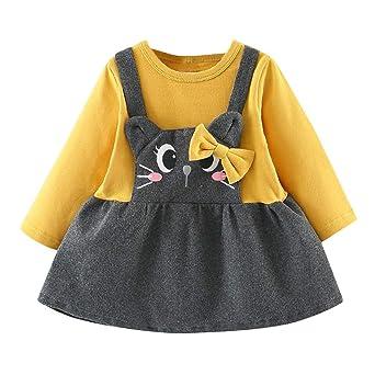 Kobay Babykleid Festlich Kleinkind Kinder Baby Mädchen Langarm Cartoon Cat Print Bow Party Prinzessin Kleid(