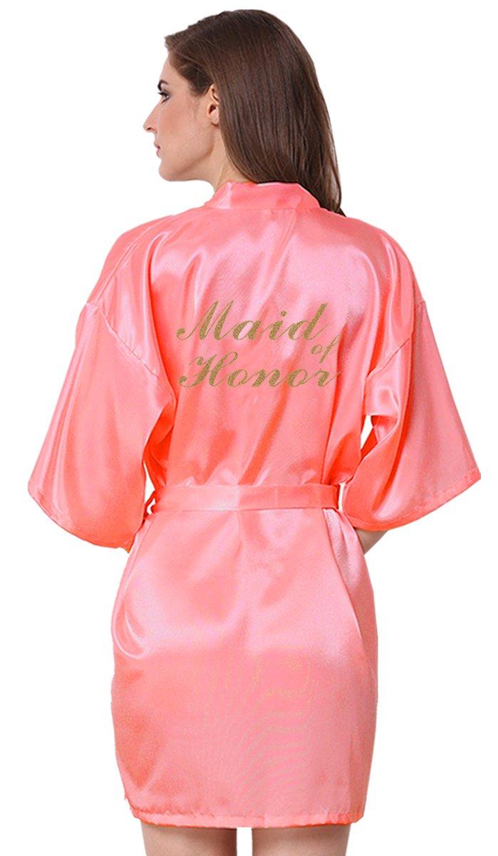 JOYTTON Women's Wedding Party Satin Kimono Robe With Gold Glitter Maid Of Honor