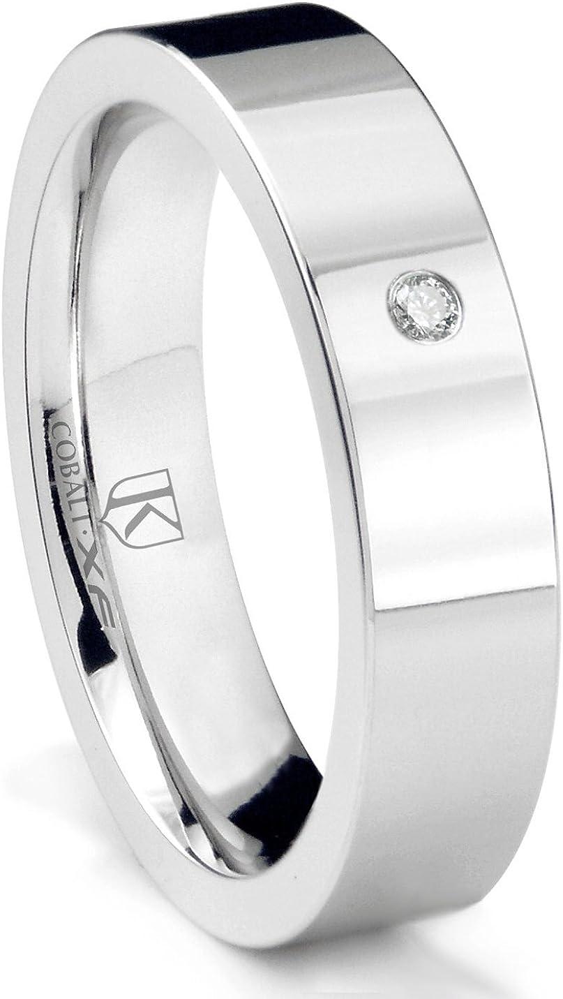 Cobalt XF Chrome 6MM Solitaire Sapphire High Polish Pipe Cut Wedding Band Ring