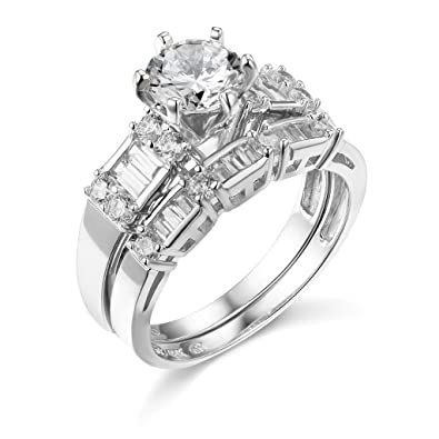 61e10cb1e96e68 TWJC 14k White Gold SOLID Wedding Engagement Ring and Wedding Band 2 Piece  Set - Size