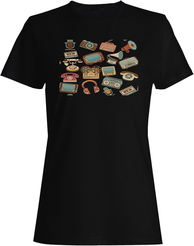 INNOGLEN Vintage TV Radio colección Antigua Camiseta de Las Mujeres g561f: Amazon.es: Ropa y accesorios