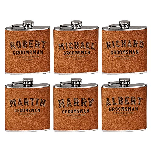 zed Groomsmen Flasks, Groomsmen Gifts | 6oz Leatherette Personalized Flask for Liquor w Optional Gift Box - Personalized Groomsman Proposal Gifts | Wedding Favor #2 BROWN (6 Ounce Liquor Flask)