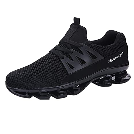 cfd2b20da6004f Mens Casual Breathable Walking Sneaker Slip On Blade Outdoor Sport Shoes  Mesh Running Shoes (Black