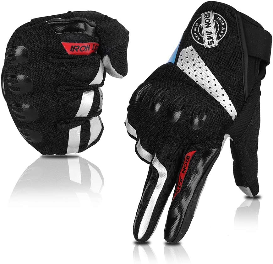 Guantes de Moto, Dedo Completo Transpirable Guantes de Moto con Pantalla Táctil Guantes de Nudillos Verano