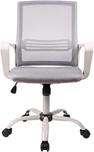 SMUGDESK Ergonomic Home Office Swivel Task Computer Desk Chair with Wheels and Arms, Gray