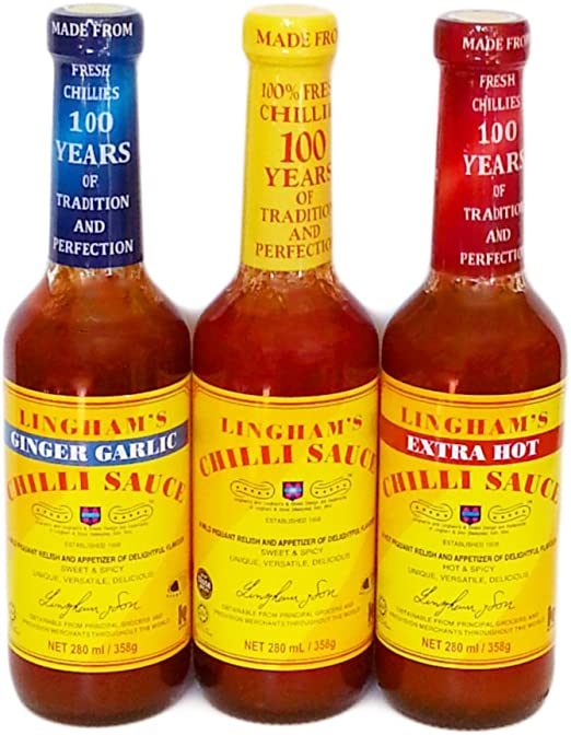 Lingham S Chilli Relish Sauce Collection Pack Of 3 Original Ginger Garlic And Extra Hot Amazon Co Uk Grocery
