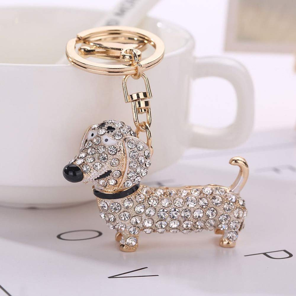 Wall of Dragon Cute Puppy Dog Charm Fashion Keychain Sparkling Crystal Unique Gift and Souvenir Hanging Keys or Automobile Pendants Car Styling by Wall of Dragon (Image #4)