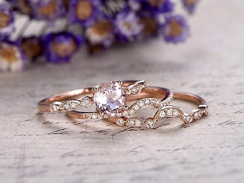 Milgrain Diamond wedding band solid 14k rose gold half eternity ring engagement ring stacking matching band anniversary ring Marquise set