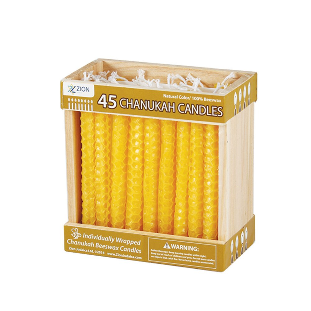 Zion Judaica Natural Beeswax Candles for Hanukkah or Any Other Use Zion Judaica Ltd ZJ-C-22N