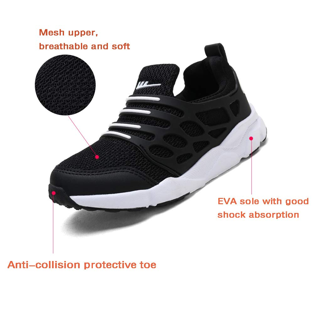 Jinouyy Kids Sport Shoes Breathable Athletic Running Shoes Slip on Sneakers Lightweight Walking Shoes for Boys Girls