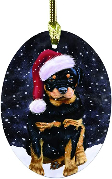Doggie Of The Day Let It Snow Christmas Holiday Rottweiler Dog Oval Glass Christmas Ornament Ogor48696 Furniture Decor