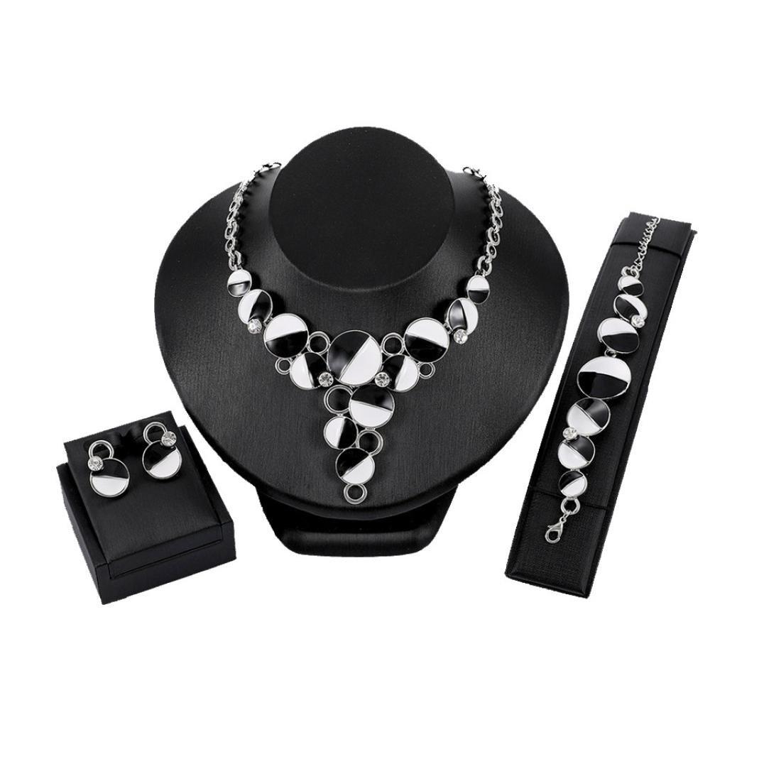 DDLBiz Women Earrings Exquisite Necklace Bracelet Sets for Bridal Wedding Party (D)