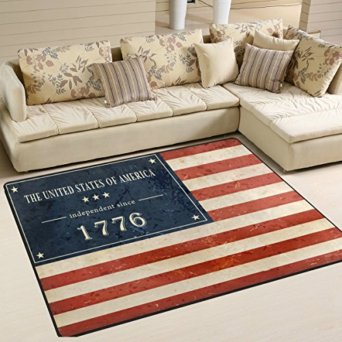 Happy 4Th Of July Patriotic Independence Day Playmat Floor Mat For Dining Room Living Room Bedroom, 7'x5' and - With Sunglasses Versace Studs