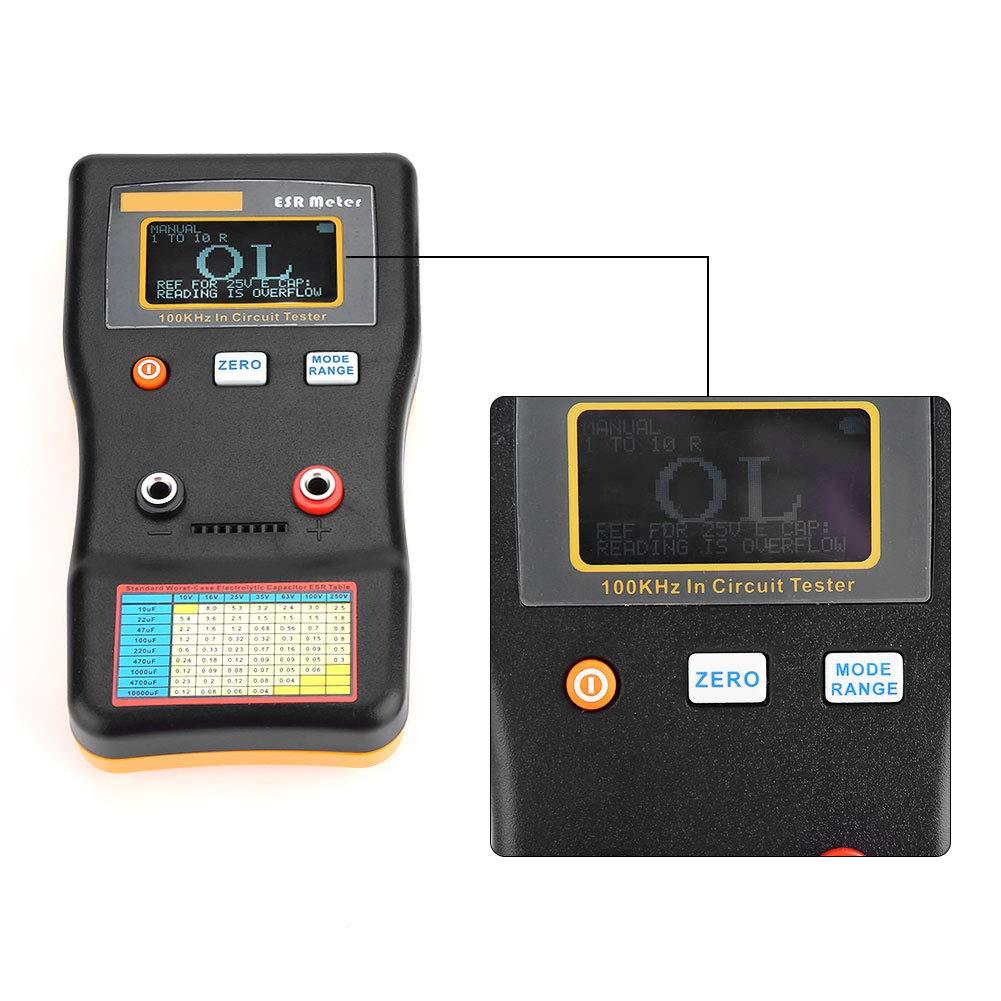 Akozon MESR-100 Tester Circuit Analyzer Analizzatore di Circuiti Misuratore ESR Resistenza Capacit/à Ohmmetro Auto Sleep da 0,001 a 100R Terminale Doppio per Riparare TV LCD Scheda Audio