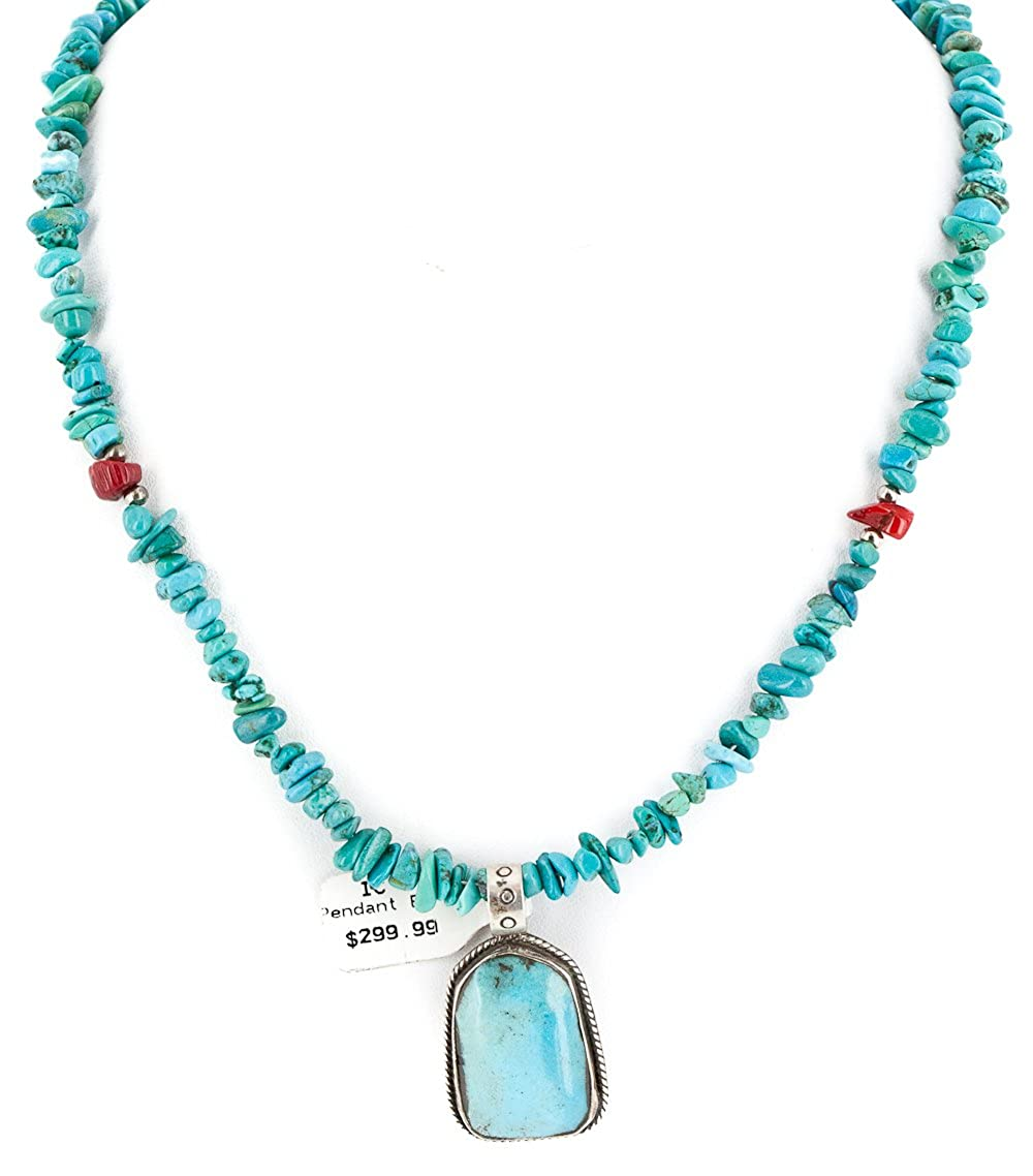 $480Tag Silver Certified Navajo Turquoise Coral Native American Necklace 14296-2-1577 Made by Loma Siiva