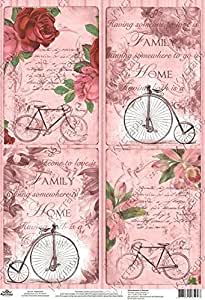 Amazon.com: Rice Paper for decoupage. Romance, Bike, Pink