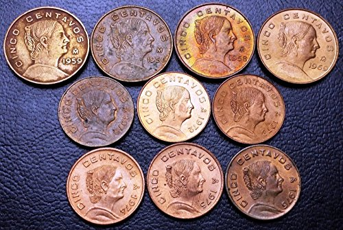 Unbranded LOT OF 10X MEXICO 5 CENTAVOS COINS1959 & 1976 GREAT CONDITION COINS