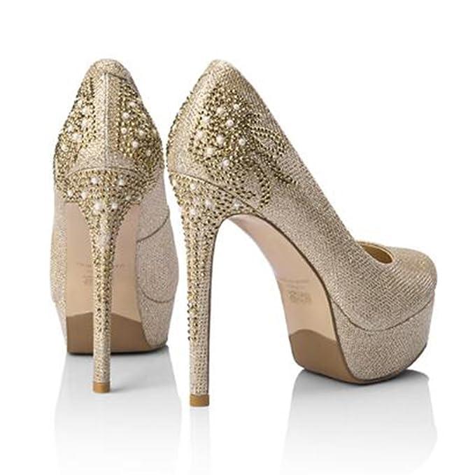 CJC Zapatos de Plataforma Impermeable de Oro Zapatos Altos Solos Zapatos de  Tacones de Aguja de Diamantes de Imitación Femenina (Color   Oro 367fd7c46dd3