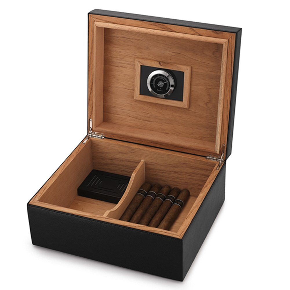 MEGACRA CB-2 Cigar Humidor Leather Surface for 25-50 Cigars Desktop Cedar Lined Box with Hygrometer and Humidifier, Black by MEGACRA
