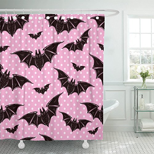 TOMPOP Shower Curtain Pink Halloween Pattern Bats Holiday Symbols Cute Gothic Colorful Waterproof Polyester Fabric 72 x 72 Inches Set with Hooks