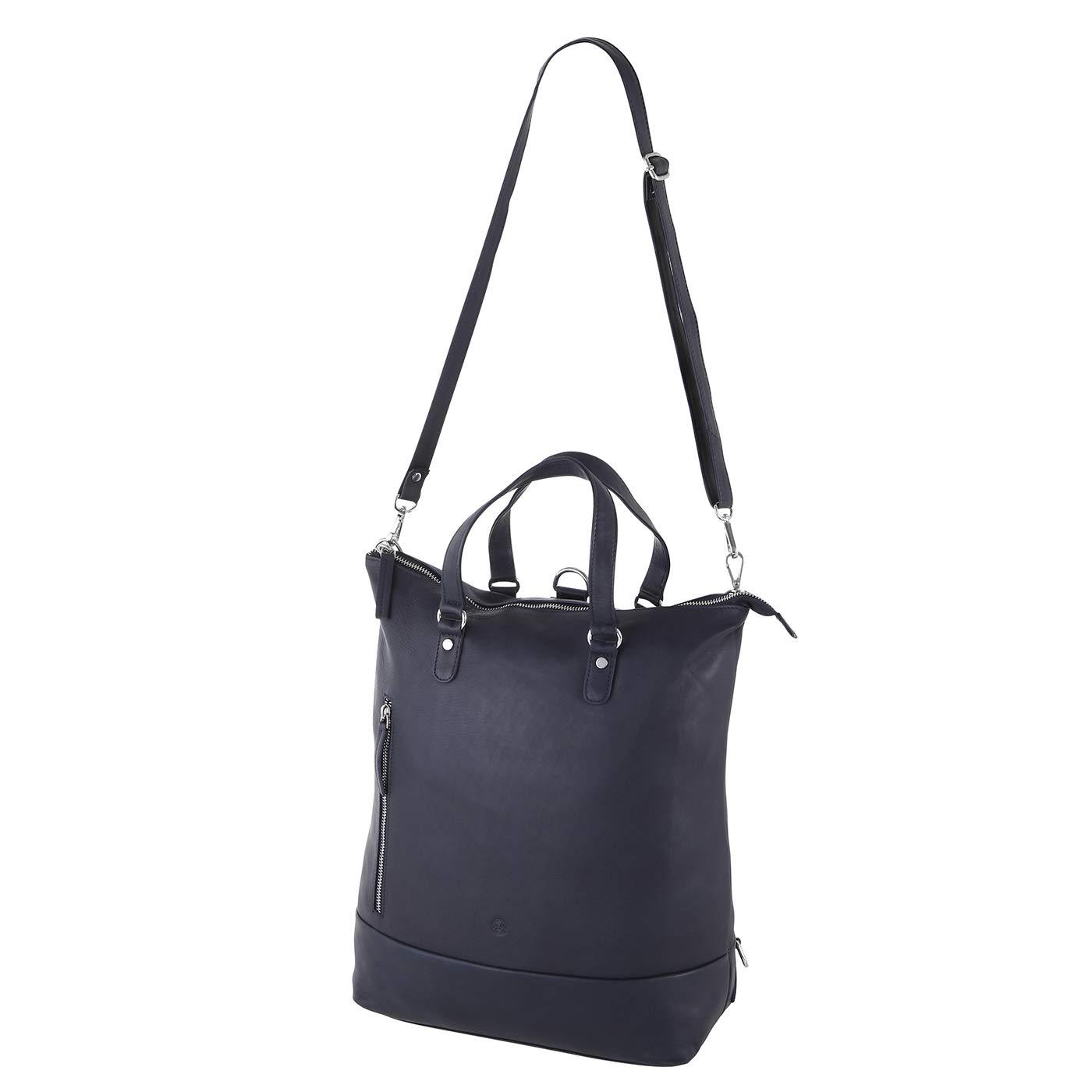 Sattlers & Co. Damen Rucksack Handtasche Dalur aus Leder, als Umhängetasche verwendbar, Lederrucksack mit Laptopfach 15 Zoll (schwarz) Schwarz