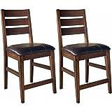 Ashley Furniture Signature Design - Larchmont Barstool Set - Pub Height - Upholstered - Vintage Casual - Set of 2 - Burnished Dark Brown
