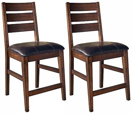 Ashley Furniture Signature Design   Larchmont Barstool Set   Pub Height    Upholstered   Vintage Casual