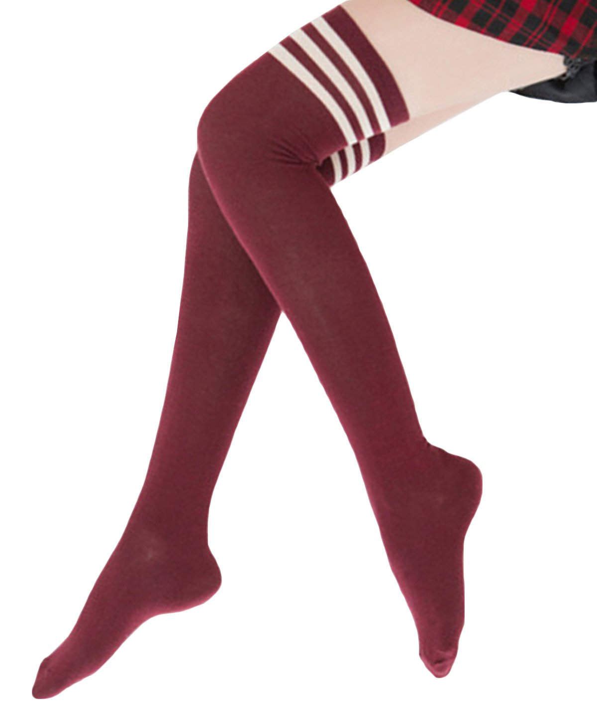 Happy Cherry Womens Girls Striped Over the Knee Thigh High Socks Stockings