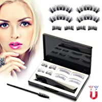 [Upgraded 2019] Magnetic Eyelashes, 3D Magnetic Eye Lashes(8 PCS), Reusable Magnetic False Eyelashes Fake Eyelashes No Glue With Tweezers for Women Makeup Natural Look