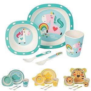 BIOZOYG Set da Cucina in bambù per Bambini da 5 Pezzi Motivo: SUnicorno I Servizio da tavola per Bambini Ciotola Muesli Bicchiere Piatti Bambini I Riciclaggio del Materiale Naturale Senza BPA
