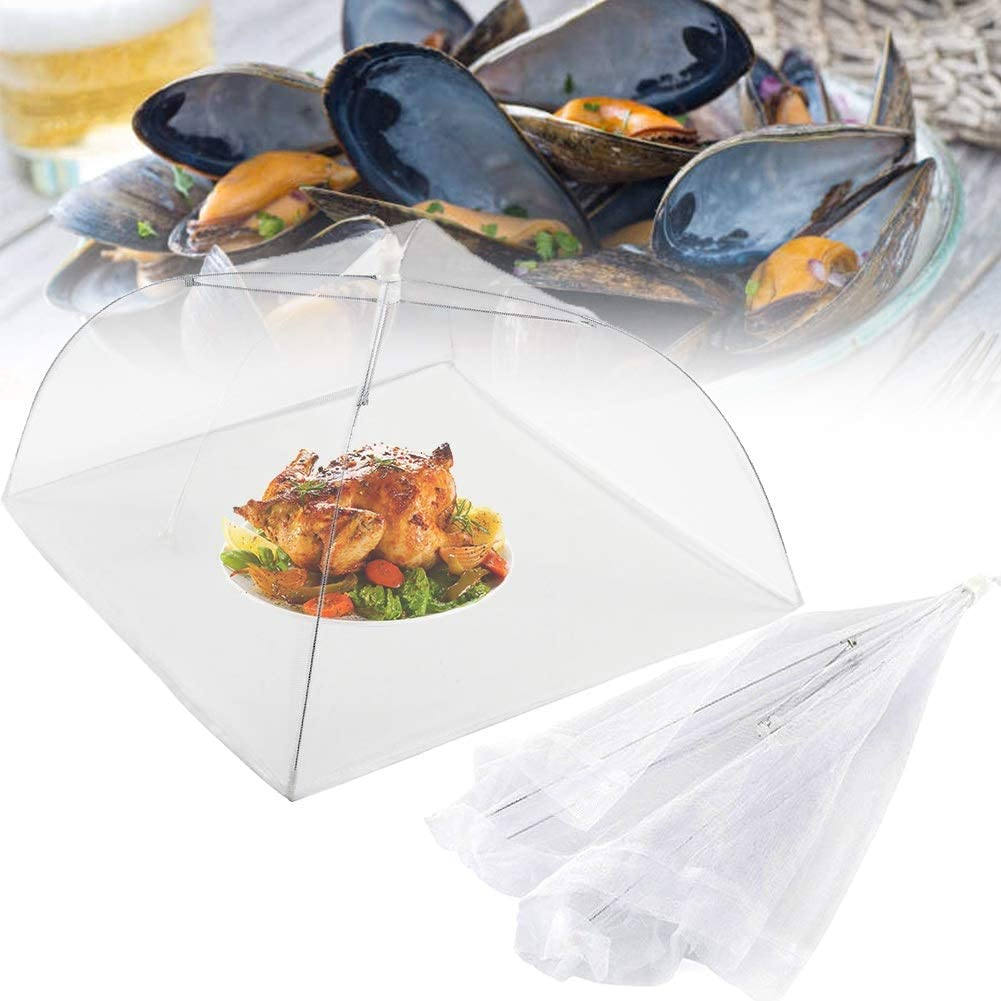 2pcs Food Cover,Food Covers Mesh Pop Up,Pop Up Tent - Keep Out Flies, Bugs, Mosquitos - Reusable - Colours May Vary