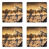 Ambesonne Mountain Coaster Set of Four, Surreal Saturated Photo of The Italian Twin Mountain Peaks with Silent Overcast Sky, Square Hardboard Gloss Coasters for Drinks, Sepia