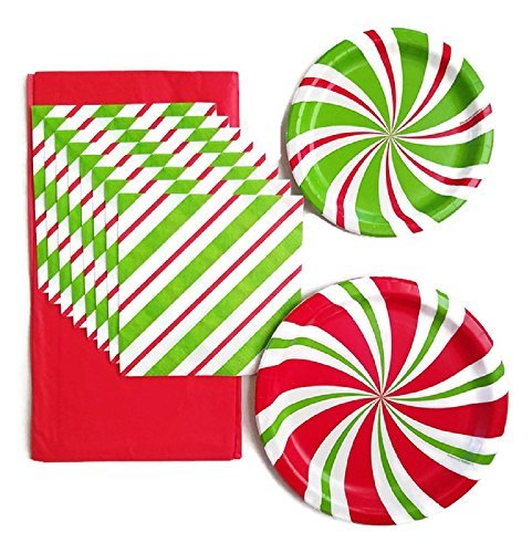 Christmas Paper Plates Party Supplies - Bundle of 3 Service for 8