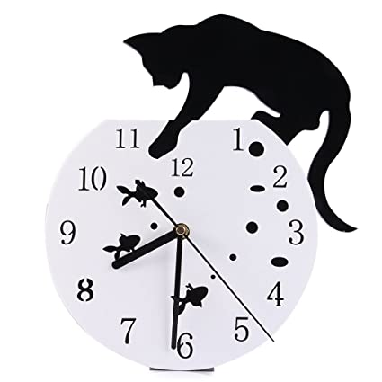 Modern DIY 3D Wall Clock Black White Cat Fish Creative Quartz Movement Acrylic Art Home Decor