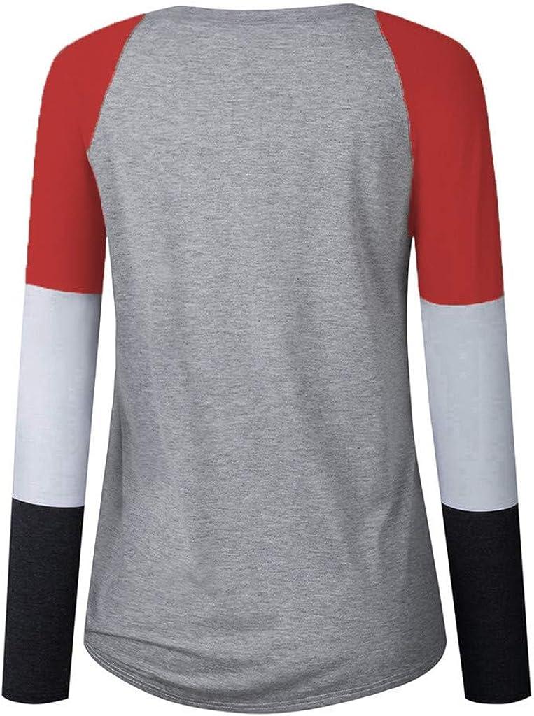 KUDICO Pulli Damen Langarmshirt Sweatshirt mit Colorblock Long Sleeve Rundhals Ausschnitt T-Shirt Hemd Jumper Bluse Tops Farbabstimmung Pullover