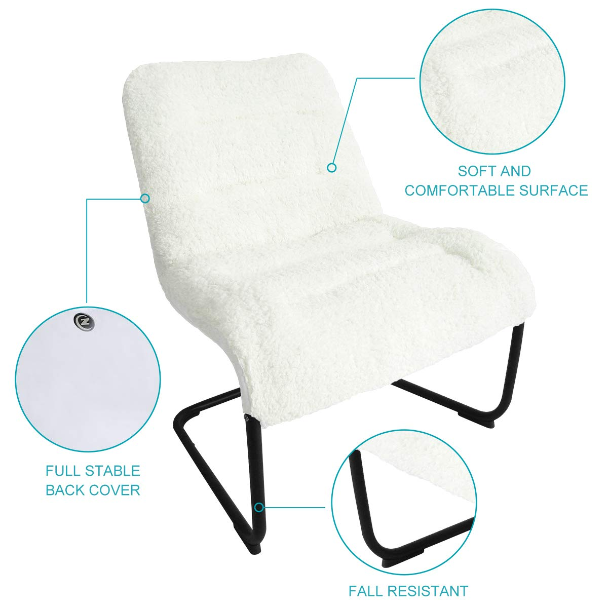 Zenree Comfy Dorm Chairs   Padded Folding Bedroom Reading Leisure/Lounge  Chair   Sherpa Seat For Living Room, Dorm, Teenu0027s Den, White