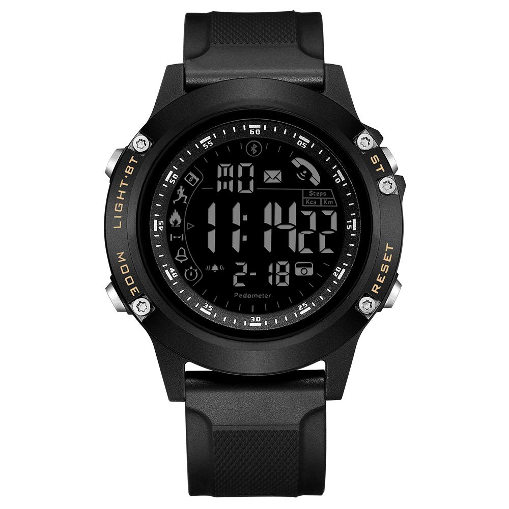 READ Men's Digital Smart Watch -Multifunction Sports Bluetooth Smartwatch with Alarm, Pedometer, Stopwatch, Calorie Counter, LED Display,Waterproof Compatible for Android iOS R5010(Black) by READ
