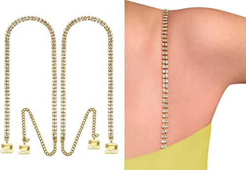 Adjustable Detachable Bra Straps Gold with Link Chain