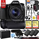 Canon EOS 80D 24.2 MP CMOS Digital SLR Camera w/EF-S 18-55mm f/3.5-5.6 IS STM Lens + 64GB Memory Triple Battery Recording Bundle