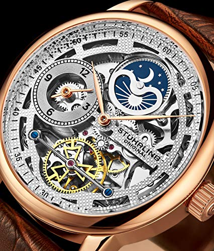Stührling Original Mens Skeleton Watch Analog Watch Dial Mens Automatic Watch - Dual Time, AM/PM Sun Moon, Genuine Leather Band, Legacy Mens Watches Collection