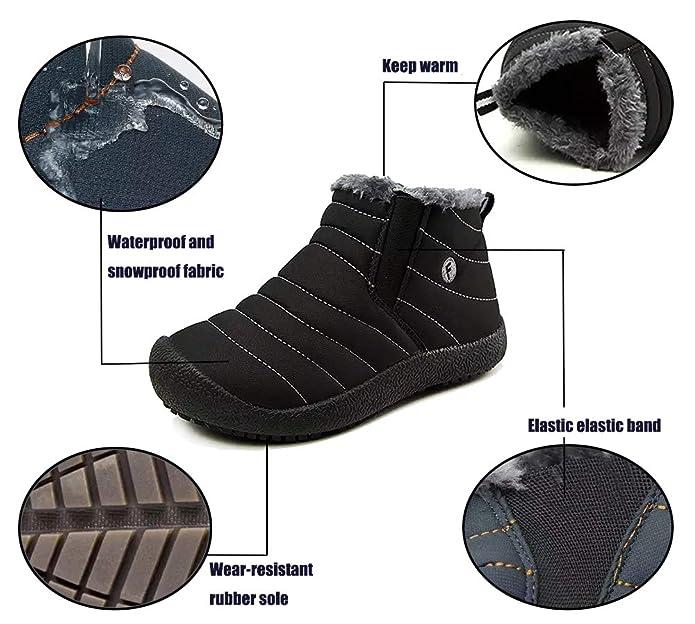1b26e67bcfbda CCZZ Chaussures d hiver Homme Femme Bottes de Neige Garçon Fille  Imperméables Chaudes Fourrure Baskets Bottines Parents-Enfants Chaussures  Outdoor Taille EU ...