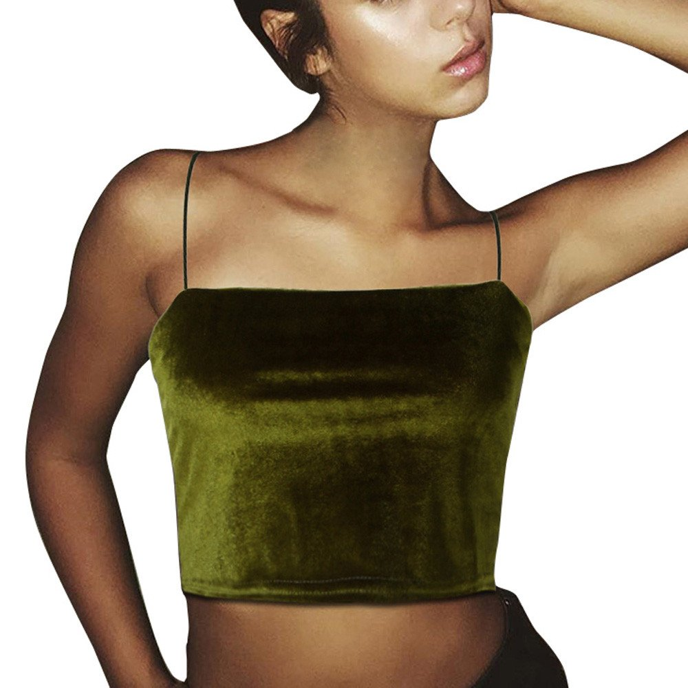 iSkylie Women's Boho Camisole Blouse Sexy Spaghetti Strap Vest Summer Sleeveless Tanks Tops Casual Sling Cold Shoulder Short Navel T-Shirt (Green, M)