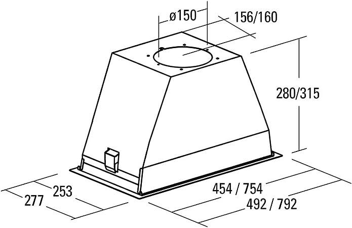 CATA GL 45X Encastrada Acero inoxidable 820m³/h - Campana (820 m³/h, Canalizado, 49 dB, 65 dB, Encastrada, Acero inoxidable): Amazon.es: Hogar